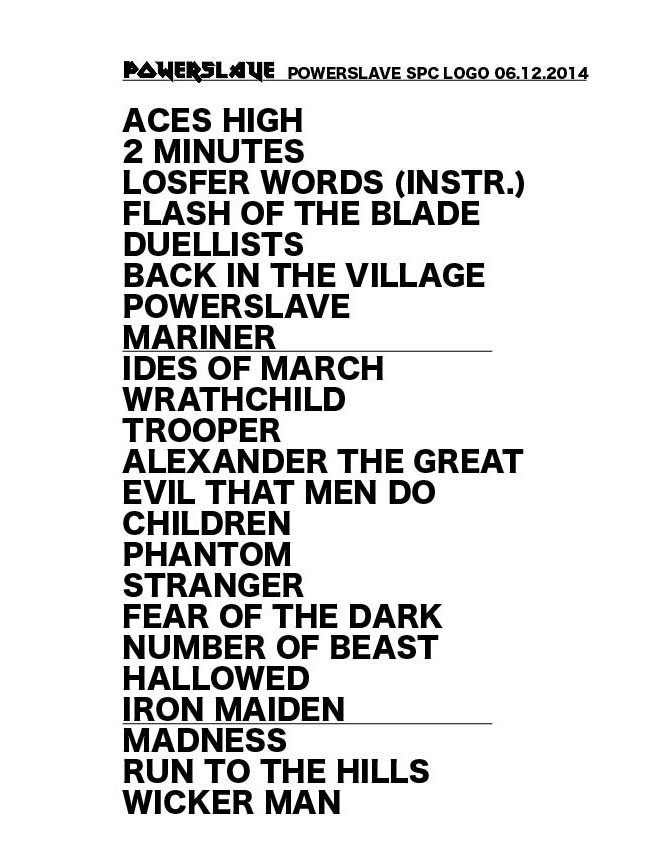 Setlist POWERSLAVE Special